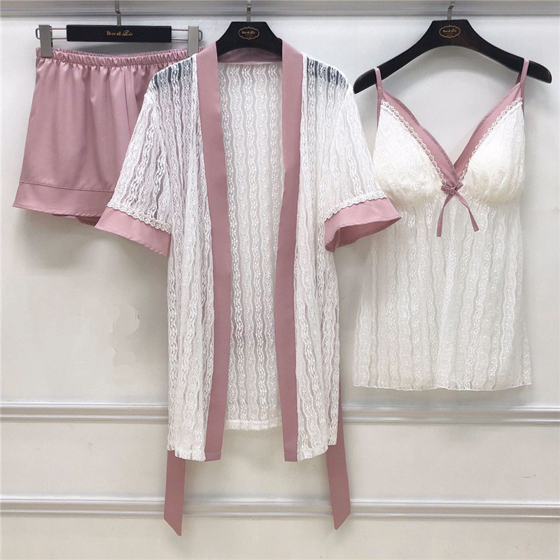 JULY'S SONG 3 Pieces Woman Spring   Pajamas     Set   Sexy Lace Sling Satin Faux Silk Sleep Lounge Pyjama With Belt
