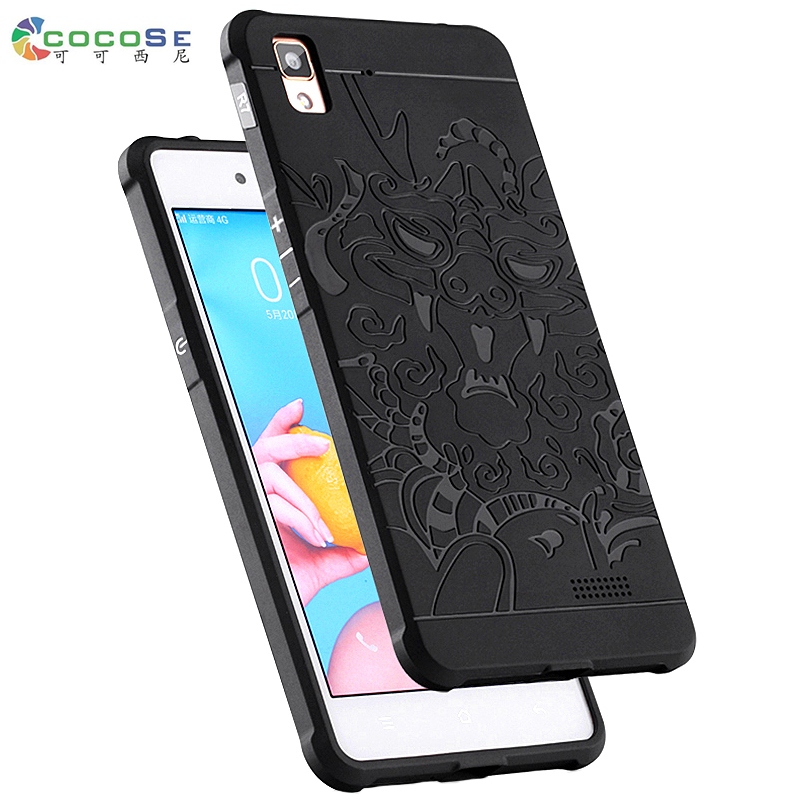 for OPPO R7 case silicone cover 3d carved dragon phone cases COCOSE matte soft tpu shockproof original black mobile phone shell