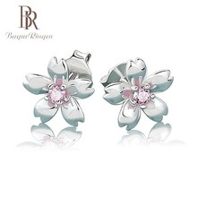 Begua Ringen Classic Wedding Stud Earrings for Women Flower Shape 100% Real 925 Sterling Silver Party Engagement Gift