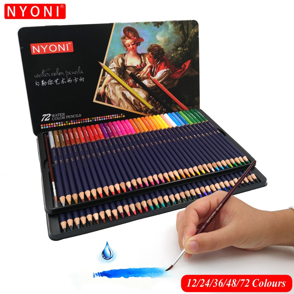Premium Soft Core Watercolor Pencils 12/24/36/48/72 lapis de cor Professional Water Soluble color Pencil for Art School Supplies