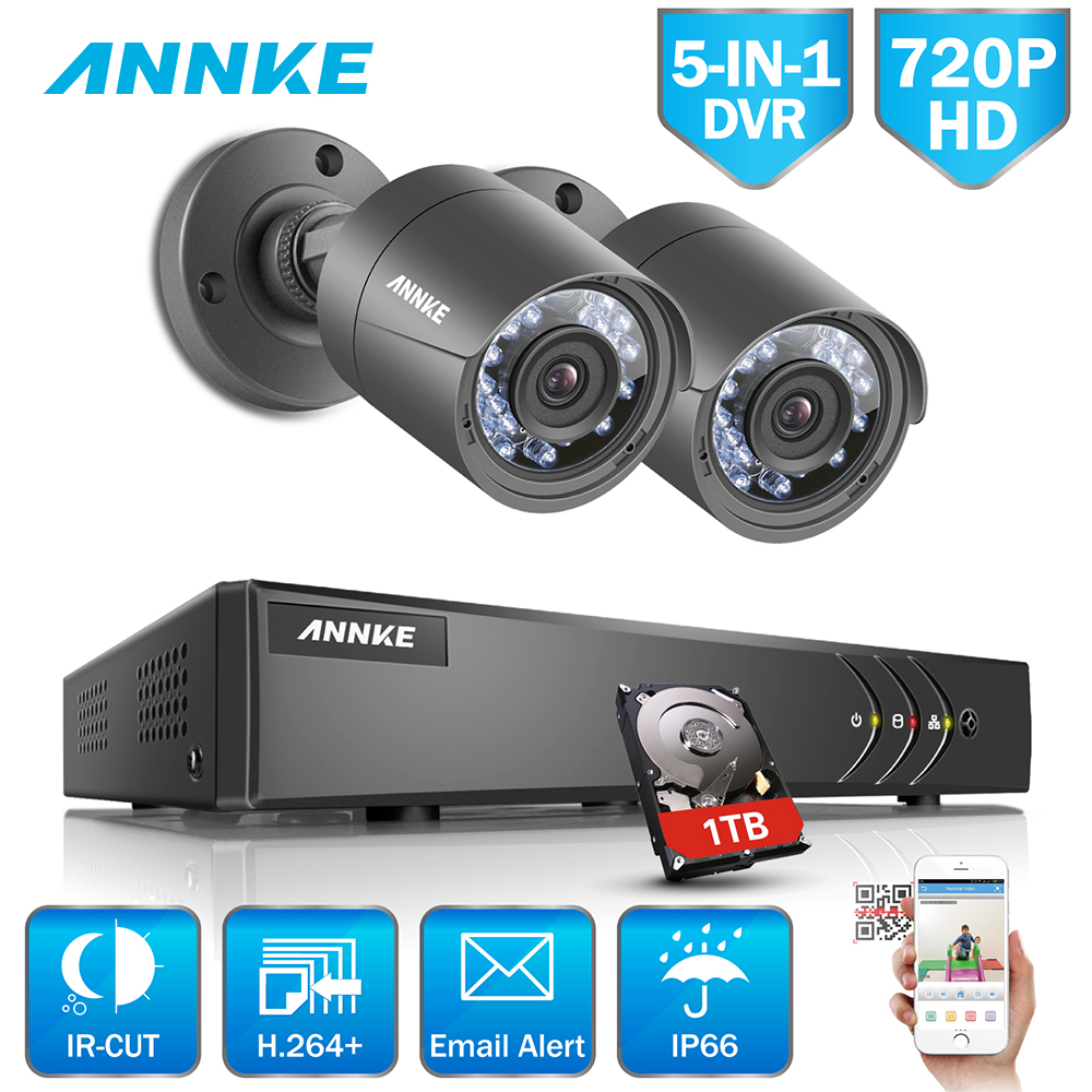 ANNKE 4CH HD 720P 5in1 1080N DVR 2pcs 720P 1500TVL Outdoor Weatherproof IR Day Night Security Camera Surveillance System 1TB HDD свияш а уроки судьбы в вопросах и ответах