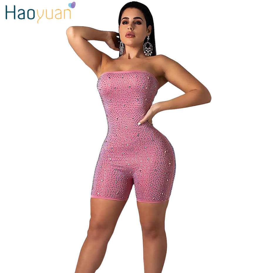 95ee658cfd HAOYUAN Rhinestones Sexy Playsuit Women Short Bodysuit Strapless Backless  One Piece Club Party Overall Bodycon Rompers