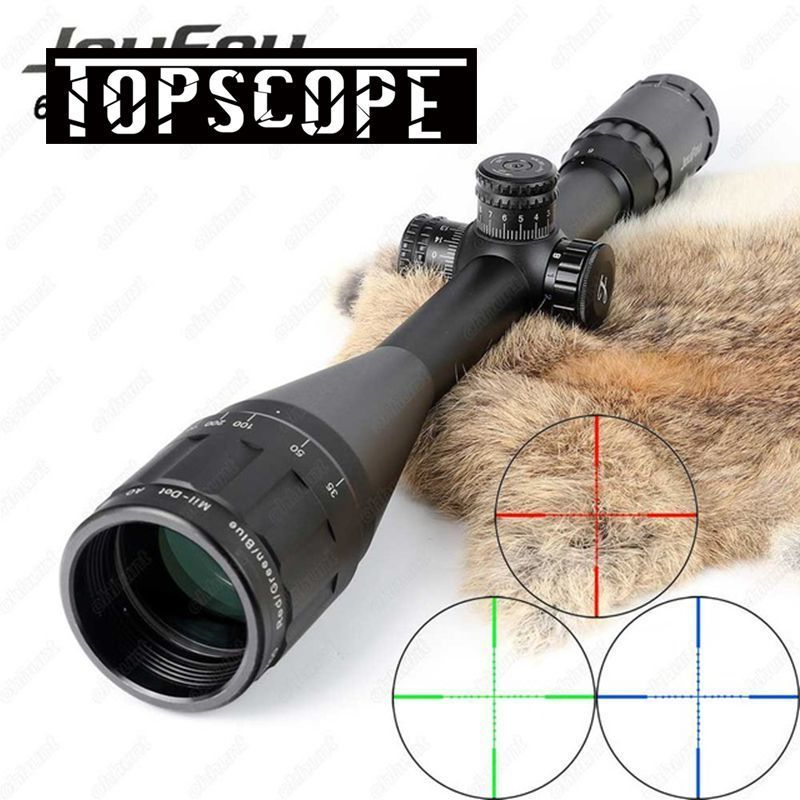 JouFou 6-24X50 Hunting Riflescope RGB Mil Dot Tactical Rifle Scope Wire Reticle Optical Sight with W/Picatinny or Dovetail Rings joufou 3 9x40ao hunting riflescope red green blue mil dot wire reticle tactical optical sight with locking resetting rifle scope