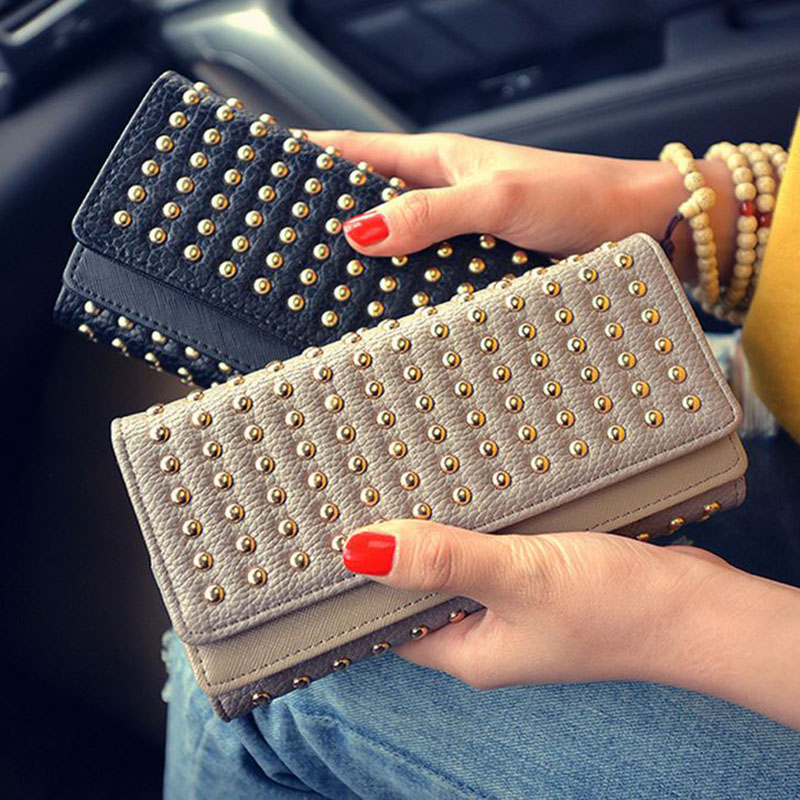 Hot Selling! Luxury Rivet Wallet Women's Clutch Bag Brand Leather Multilayer 3 Fold Long Wallets Business Card Holder Coin Purse 2017 hot selling women punk wallet high grade fashion vintage bag wallets skull head rivet purse handbag brand long purse new