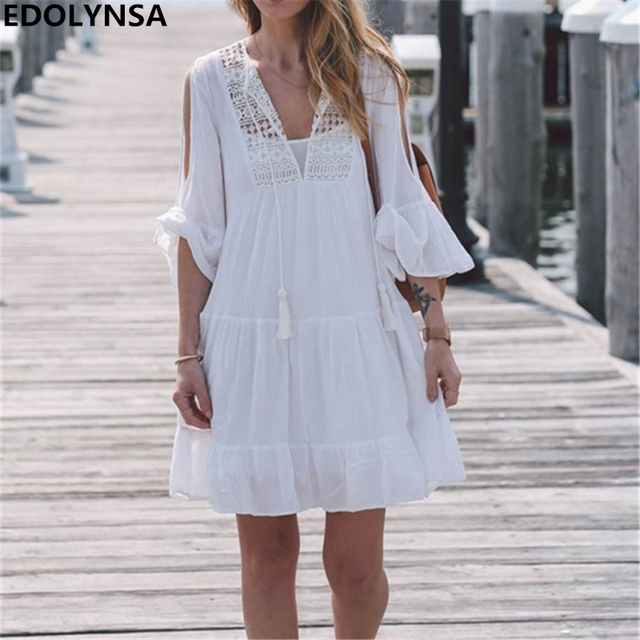 9e0c03aeff2a Ruffle Cold Shoulder Solid White Summer Dress V Neck Self Tie Fit Chic  Casual Cotton Beach Short Dress Women Streetwear  N116