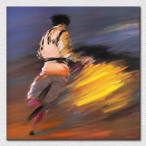 Oil on canvas spanish Matador oil painting textured knife painting for room