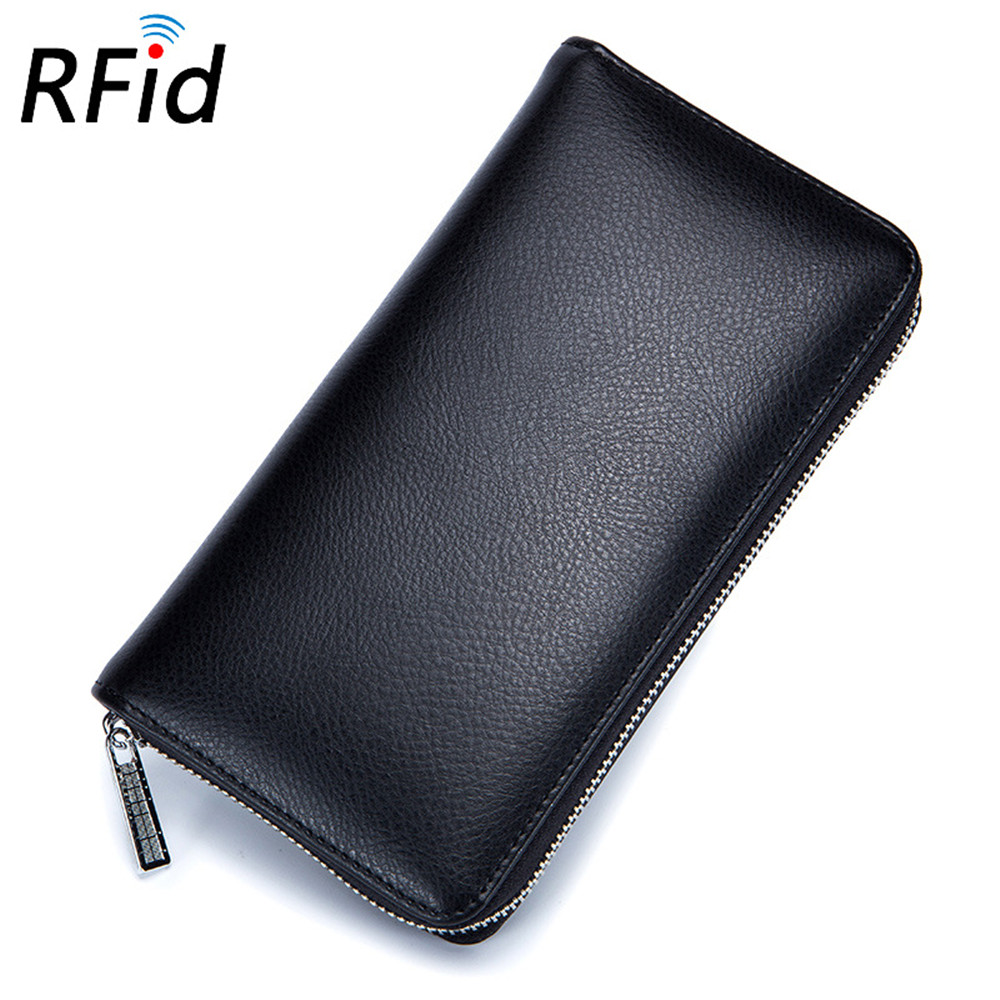 Leather Men/Women RFID Blocking Credit Card Holder Anti Theft ...