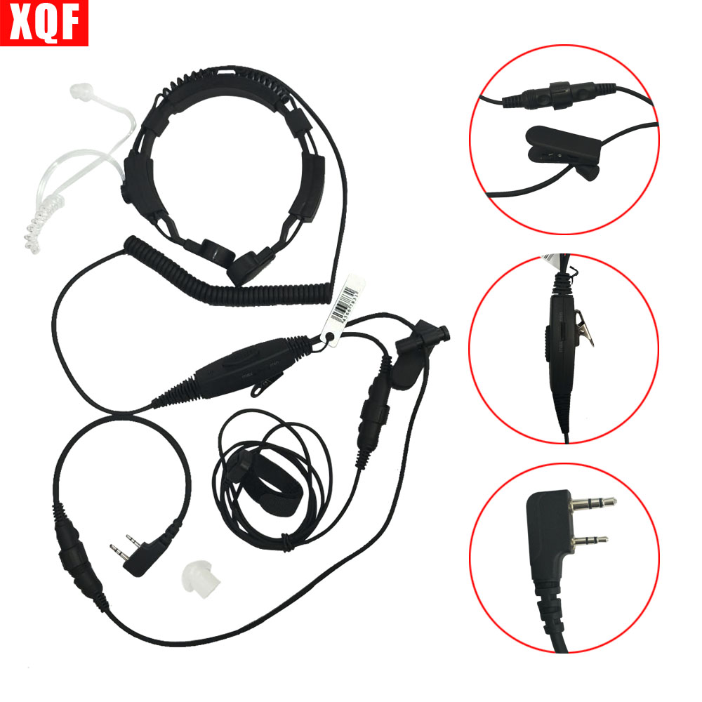XQF Professional Tactique Military Police BodyGuard Flexible Throat Mic Covert Acoustic Tube Earpiece Headset With Finger PTT