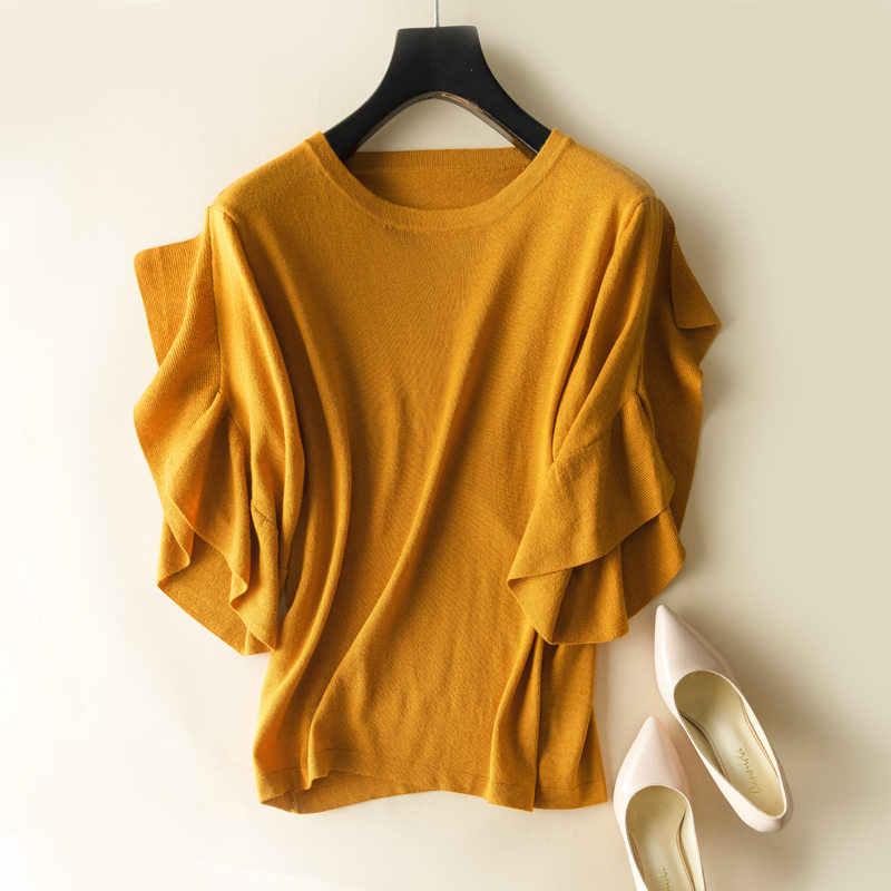 Мягкие эластичные свитера Вязание пуловер с круглым вырезом короткий рукав бабочка весна осень Женские однотонные женский кашемировый свитер