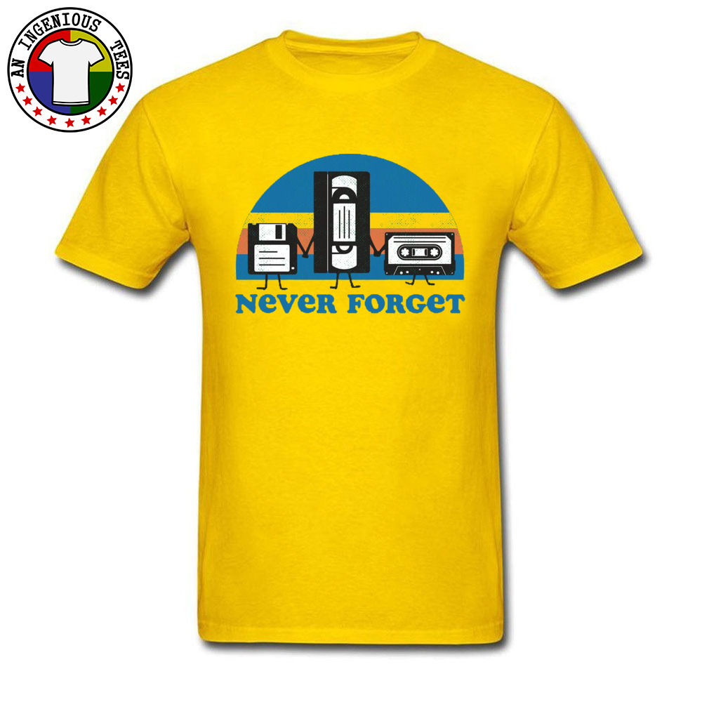 Never-Forget-disc-cassette- Family Tops Shirts for Men 100% Cotton Fall Crewneck Tshirts Simple Style Tops T Shirt Discount Never-Forget-disc-cassette- yellow