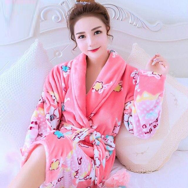 Womens Cotton Bathrobe Long Coral Fleece Cartoon Nightgowns Sleep Lounge  Dressing Gowns For Women Sleepwear Female Bath Robe e8953e7e8