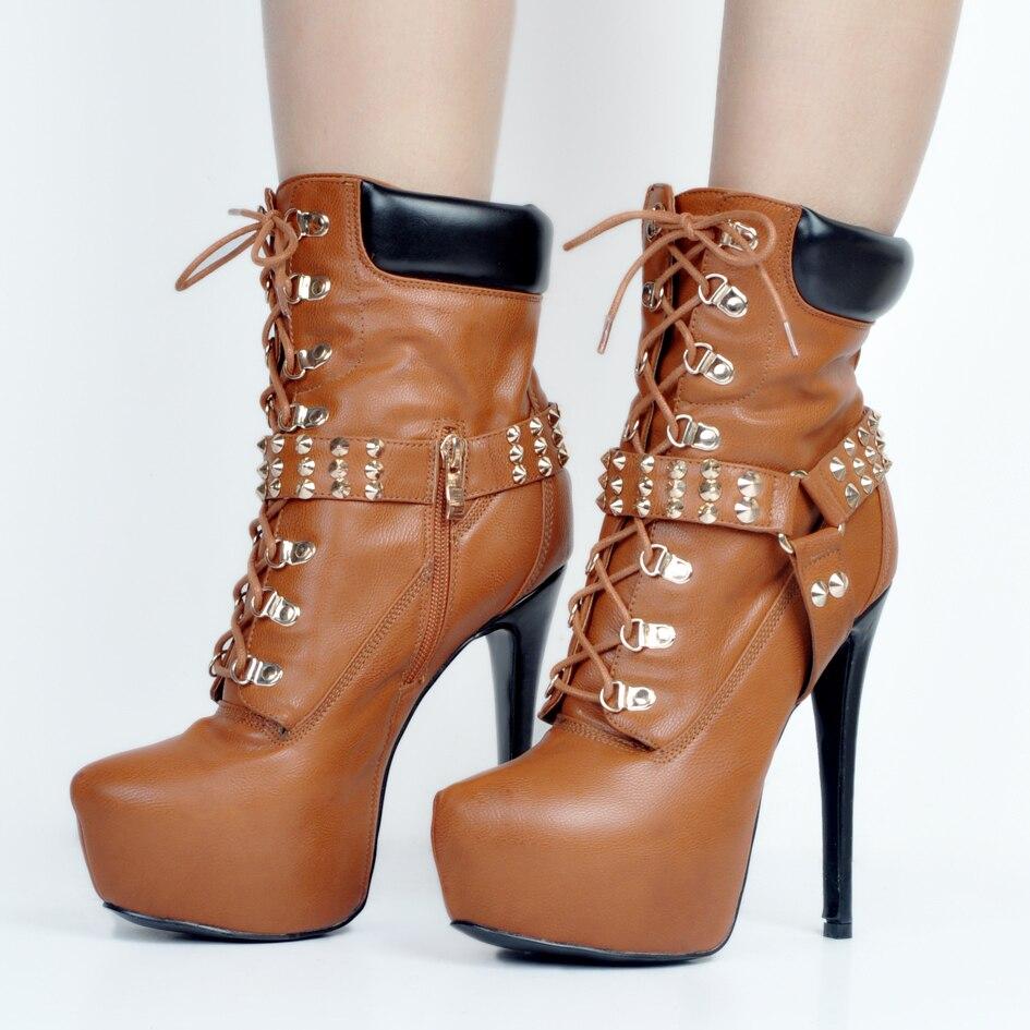 L'intention Brun Minces Talons Chaussures Rivets Femmes Initiale Nouveau Bottes Cheville 4 Plate Ef0500 Style Nous forme Plus Rond Taille Femme Bout 15 rSrgOqw7