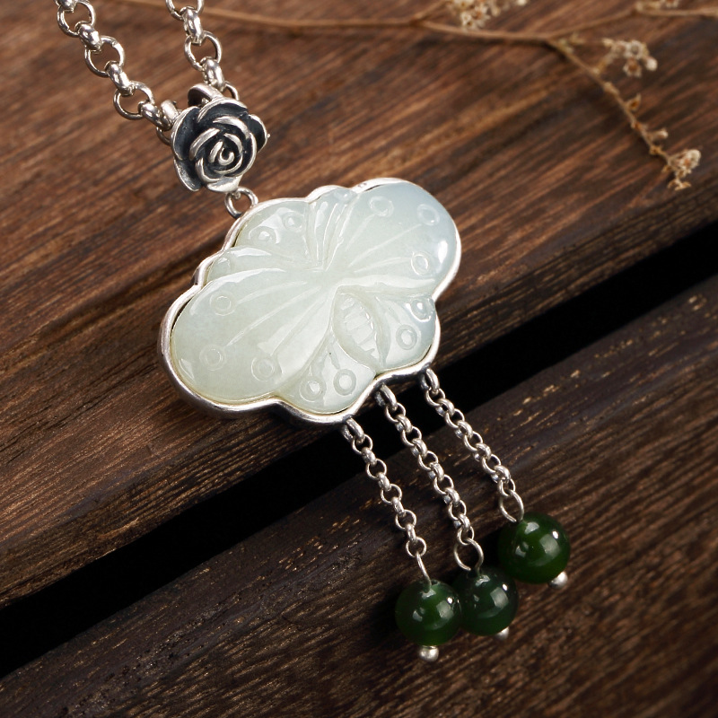 Natural Jade Necklace Pendant For Lady Real 925 Sterling Silver Tassels Jasper Beads Pendants Butterfly Pattern Accessories