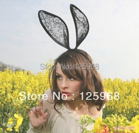 Free Shipping 2013 New Fashion Lace Big Rabbit Ear Hairbands Womens Festival Party Props Hair Bands Wholesale