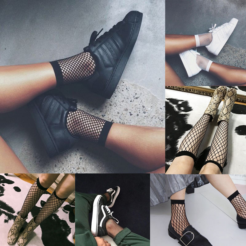 New Net Socks Womens  girls Fashion Ruffle Fishnet Ankle High Socks Mesh Lace Fish Net Short Socks basic pump