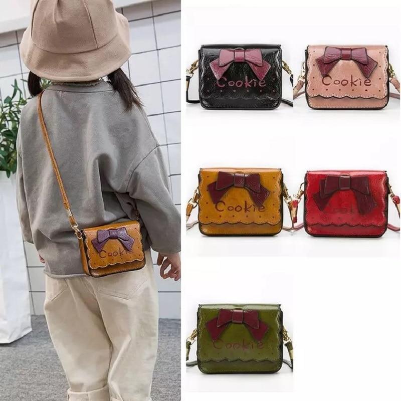 Trendmarkierung Mode Kinder Mädchen Bogen Schulter Tasche Baby Geldbörse Pu Leder Messenger Bag Kid Crossbody-tasche Frauen Münze Schlüssel Tasche Crossbody-taschen Gepäck & Taschen