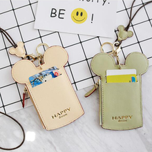 Angelatracy 2019 New Arrival Solid PU Leather Cartoon Bus Card Access Name Tag Women Coin Strap ID Holder CardHolde