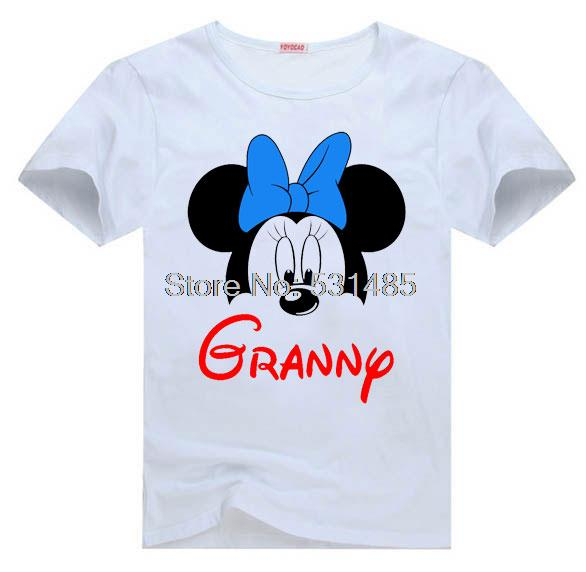 Minnie Mouse Head GRANNY Personalized Birthday Party Family Trip ShirtS For Toddler Kids Children Boy Girl