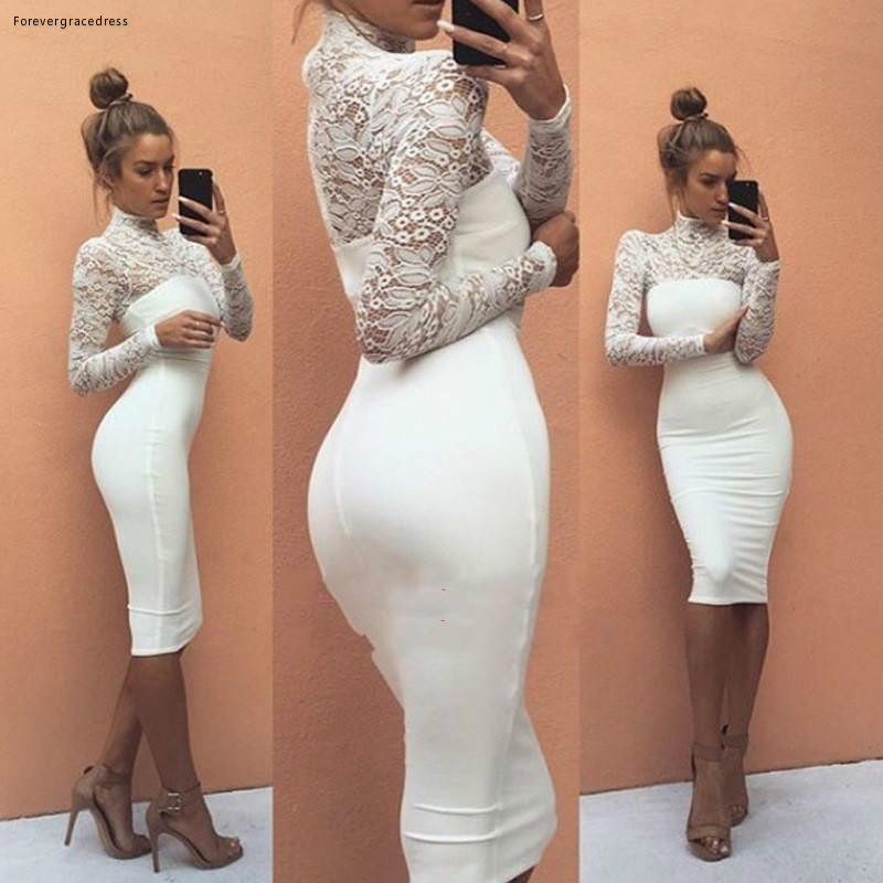 2019 Elegant Arabic African Sheath   Cocktail     Dress   Little White High Neck Formal Club Wear Evening Prom Party Gown Plus Size
