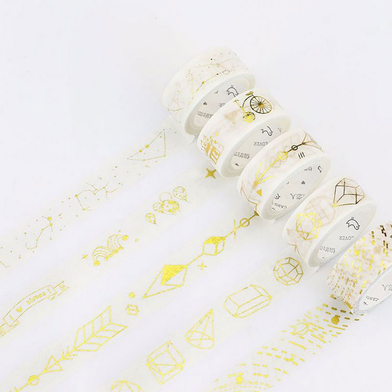 1pcs 0.5-3 cm*5 m Hot stamping series Beautiful washi tape children diy Diary decoration masking tape stationery scrapbook tools city series 1 5 cm and 3 cm washi tape children like diy diary decoration masking tape stationery scrapbooking tools