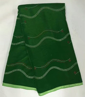 Green Silk Velvet Fabric With Stripes Pattern And Stones 5yards Pcs For Sewing African Sexy Party