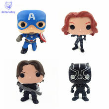 NEW 10cm Captain America 3 Black Widow Winter Soldier action figure Bobble Head Q Edition no box for Car Decoration(China)
