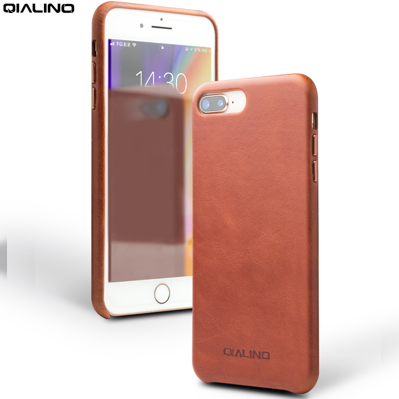 QIALINO Fashion Genuine Leather Phone Case for iPhone 7 Ultra Thin Handmade Nostalgia Back Cover for iPhone 7 plus for 4.7 inch