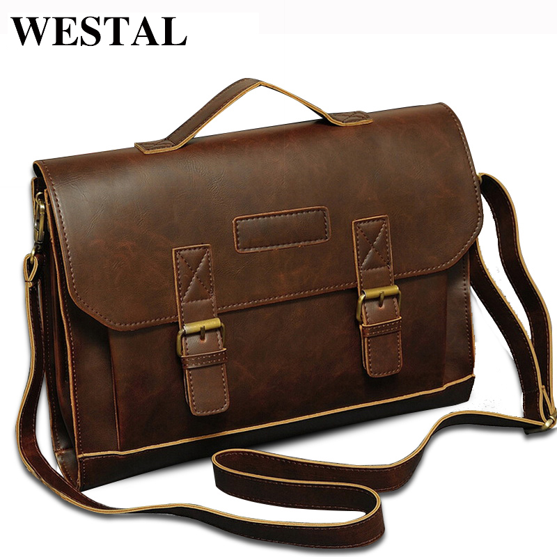 WESTAL Vintage PU Leather Men Bag Men Messenger Bags Shoulder Crossbody Bag Business Briefcase Brand PU Leather Handbag
