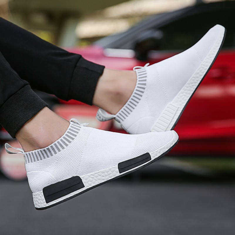 Brand Men Shoes Lightweight Red Sock Sneakers White Breathable Slip-on