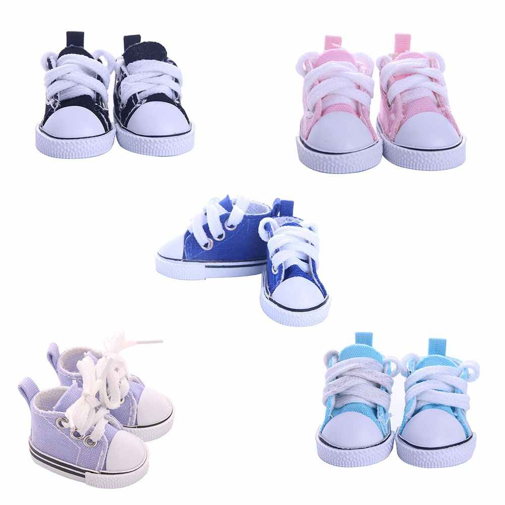 New Style 5cm Doll Accessories Shoes Denim Canvas Mini Toy Shoes1/6 Doll Sneackers Boots For Cloth Handmade Doll