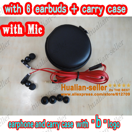 Best Noise Cancelling 3.5mm high quality headphone earphone with mic in storage case for iphone mp3, with 6 earbuds + carry case