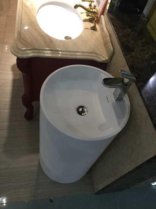 bathroom rectangular pedestal freestanding vessel wash sink solid surface stone wash basin rs38373