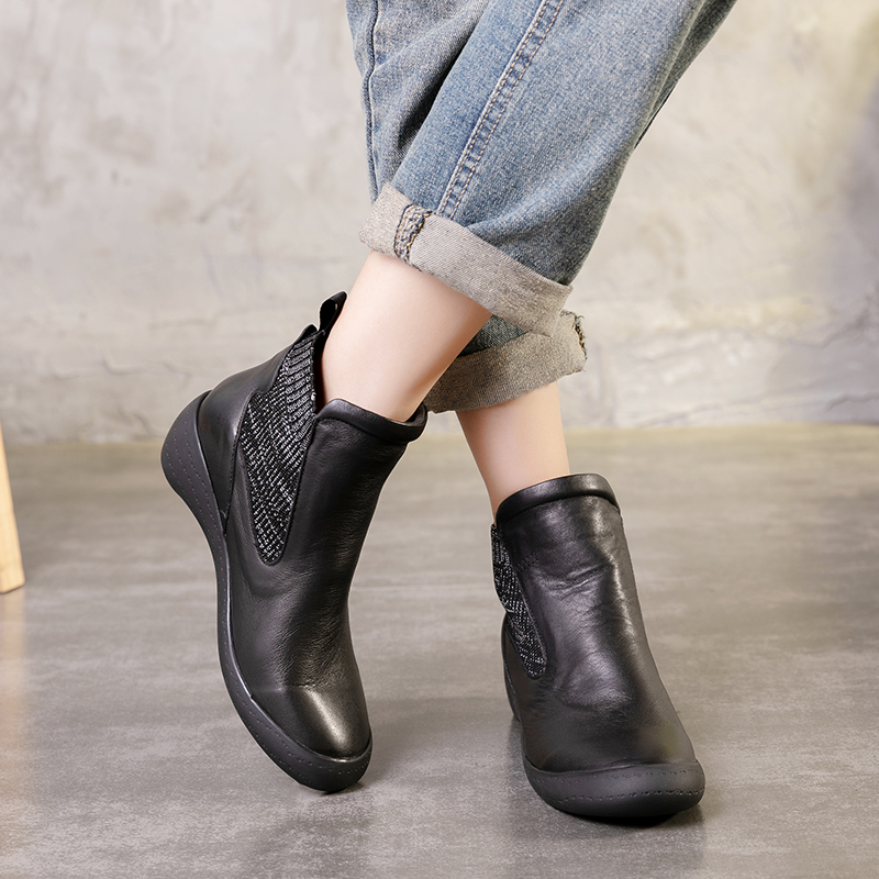 Ankle Lady Booties Fashion Women' s Natural Cow Leather Boots Hand-painted New Arrival Chunky Low Heel Short Shoes Female
