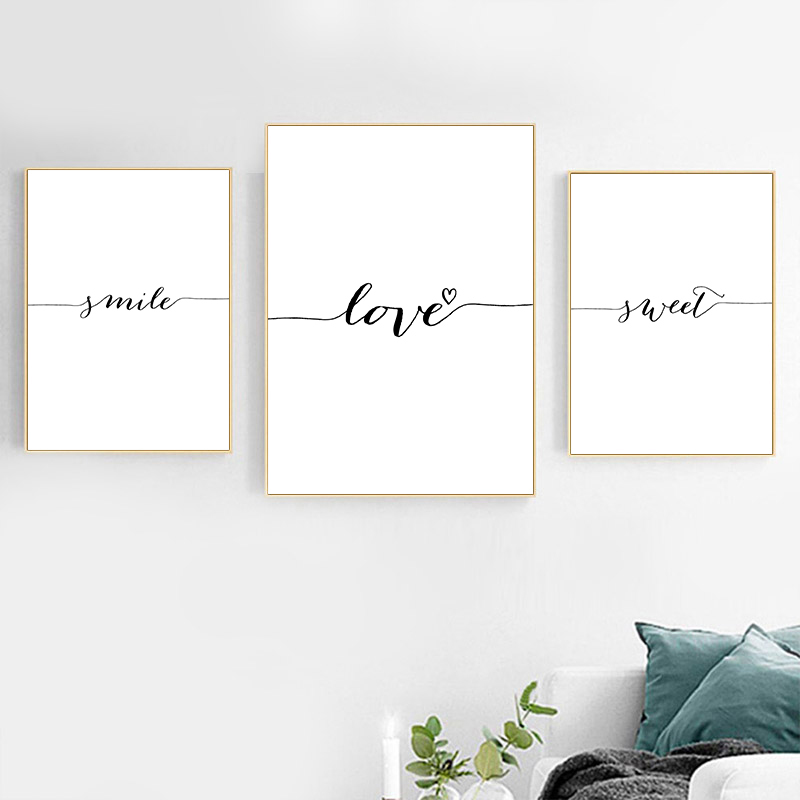 Love Smile Dream Sweet Quotes Canvas Poster and Prints Painting Wall Art Nordic Style Decorative Picture Home Bedroom Decor in Painting Calligraphy from Home Garden