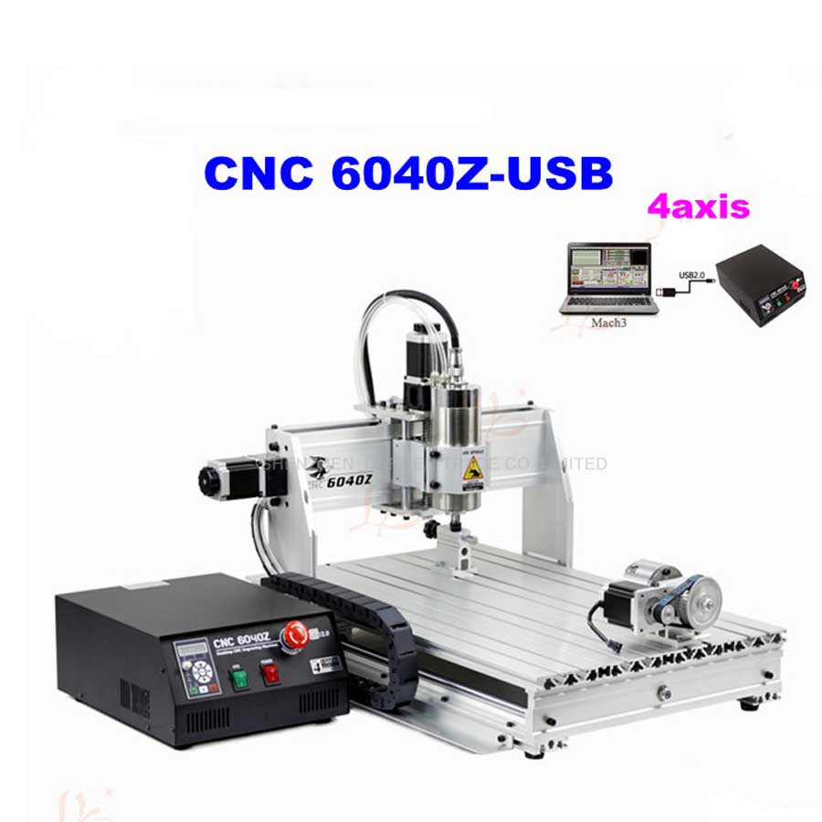4 Axis  6040Z Metal Engraving Machine With USB Port 1.5KW  220VAC With English Manual