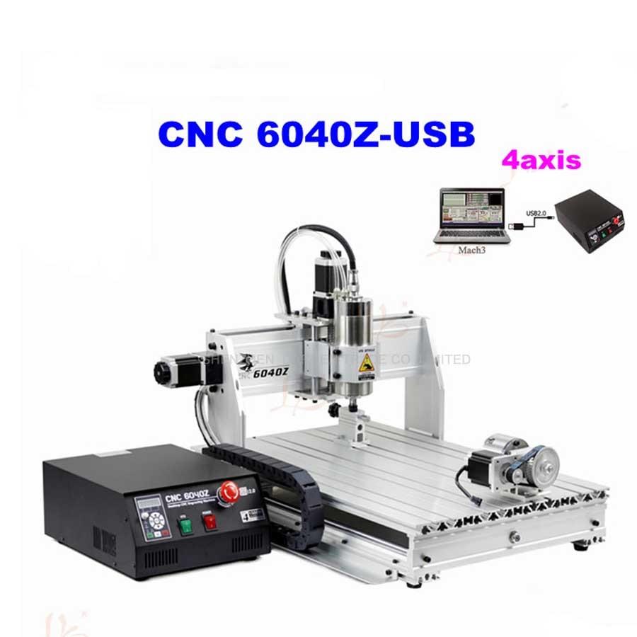 4 axes 6040Z Machine de Gravure En Métal Avec Port USB 1.5KW 220VAC Avec Manuel En Anglais