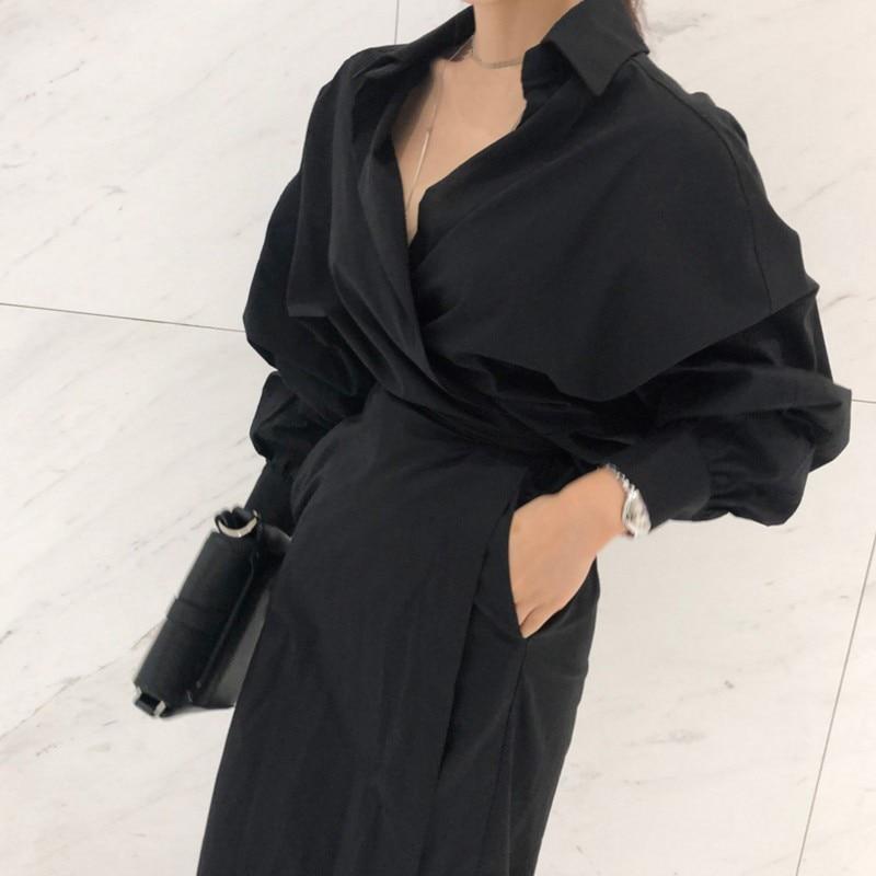 CHICEVER Solid High Waist Lace Up Dress For Women Hem Split Lantern Sleeve Slim Summer Dresses Female Clothes Fashion Korean New 10