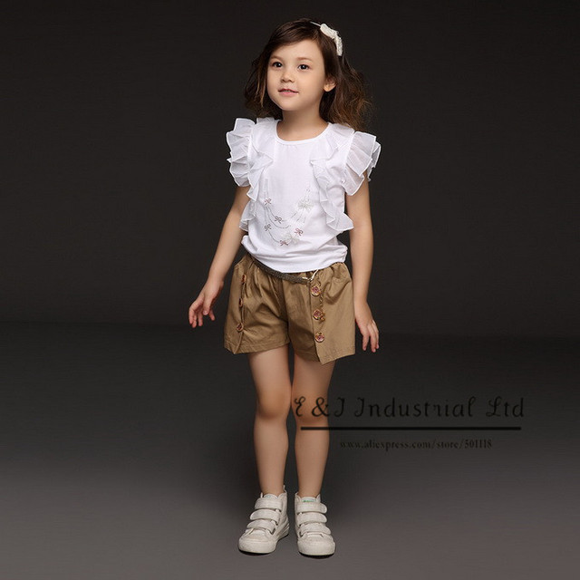 2017 New Designer Baby Girls Clothing Set Lace T Shirt And Pants Fashion Infant Wear Kids Clothes Free Shipping CS30301-31^^EI