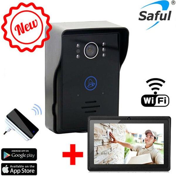 """bilder für Heiße drahtlose wifi video-türsprechanlage intercom + türklingel + 7 """"tablet wifi türklingel kamera system mit nacht vision"""