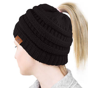 9a623b4eebfc0f New Soft Knit Ponytail Beanie Winter Hats for Women BeanieS for Ladies Hat  Warm Caps Female Knitted Stylish Hat Ladies Black