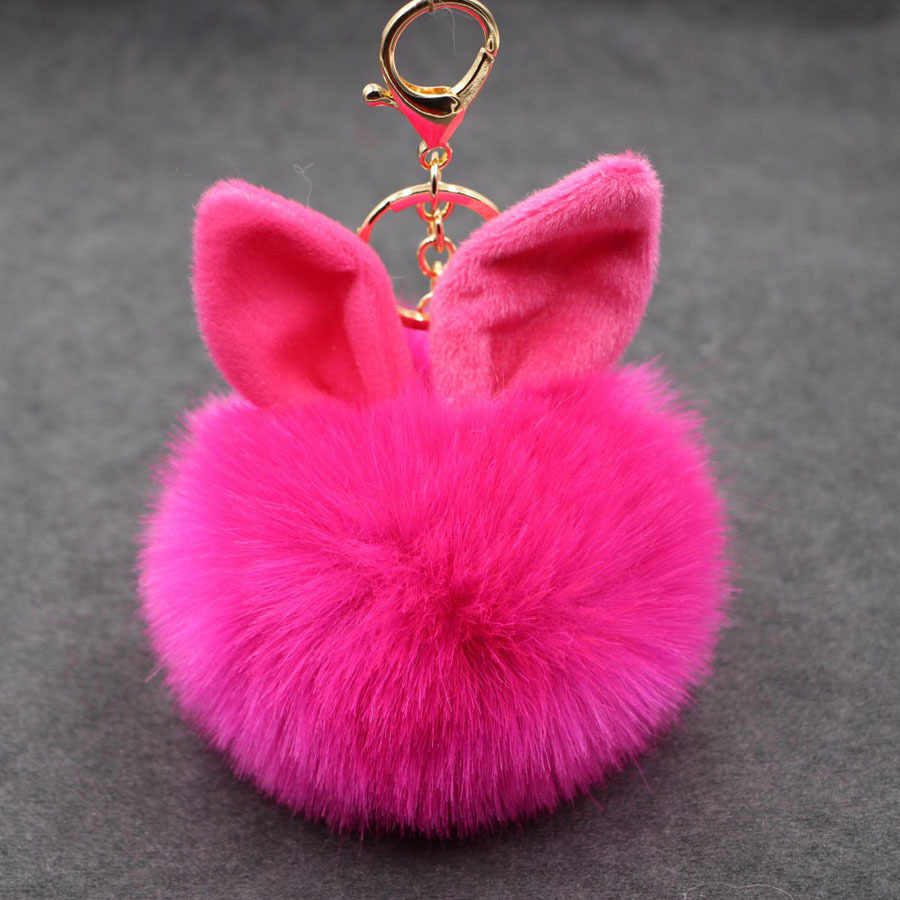 Pompom Pom Pom Fofo Mulheres Pompom De Fourrure Femme Porte Clef Chaveiro Llavero Chave Anéis Da Cadeia de Orelha de Coelho Bola De Pêlo saco
