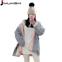 2018 New Winter Jacket coats Women Korean Casual Pink big Fur Hooded parkas Women Drawstring Thick Warm outerwear Tooling J382