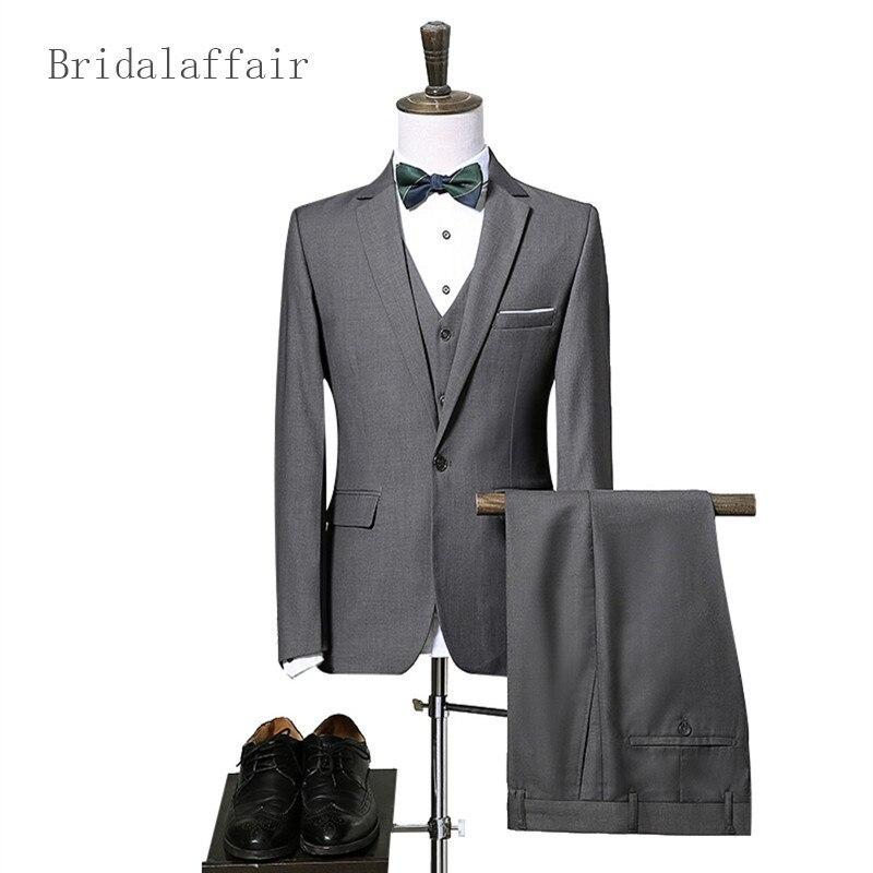US $81.87 12% di SCONTO|Pantaloni giacca Gilet Vestito Degli Uomini 2018 Giacca Formale Abiti da Uomo Per Wedding Blu Navy Bordeaux Nero Grigio Mens