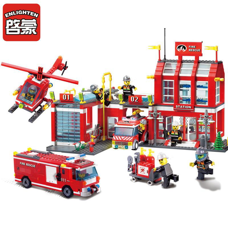 911 ENLIGHTEN City Fire Station Fire Control Regional Bureau Model Building Blocks DIY Figure Toys For Children Compatible Legoe 1916 enlighten city water police station series plan breakout model building blocks figure toys for children compatible legoe