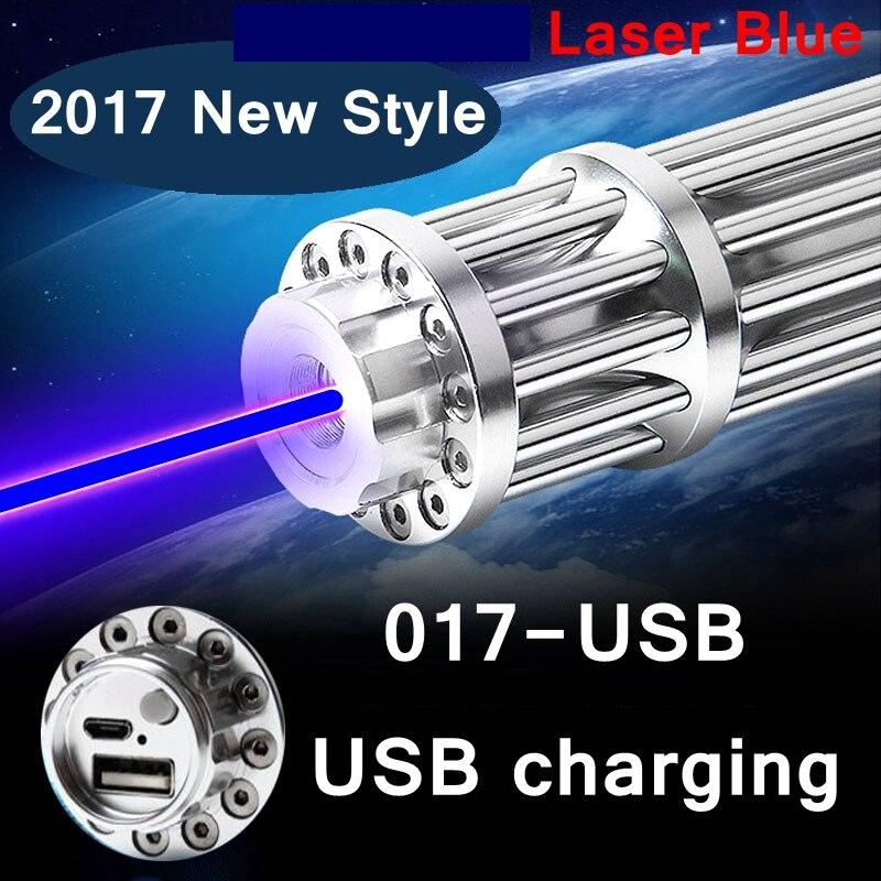 [ReadStar] 2017 nouveau Style 017-USB haute brûler Bleu laser pointeur laser stylo USB de charge avec motif caps rechargeable batterie