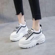 Женские кроссовки на плоской платформе 2019 весенние черные/белые кроссовки для женщин ботинки с массивным каблуком повседневные кожаные женские зимние кроссовки