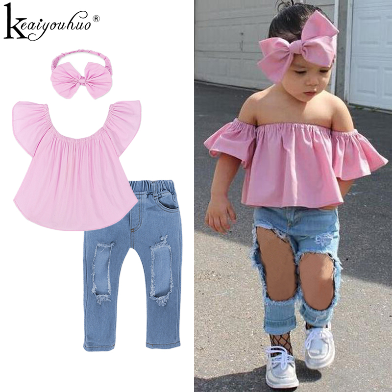 Girls Clothes Sets Summer Off Shoulder Top+Broken Hole Jeans Children Clothing Set Tracksuit For Kids Clothes Girls Sport Suits 1