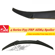 цена на F33 AEM4 style FRP Unpainted Black Rear Trunk Boot Spoiler Wing For BMW 4-Series F33 420i 425i 428IxDrive Coupe 2-Door 2014-2018