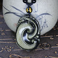 Beautiful Natural Gold Obsidian Hand Carved Handmade Dragon RuYi Lucky Pendant + free Beads Necklace Fine Jade Jewelry