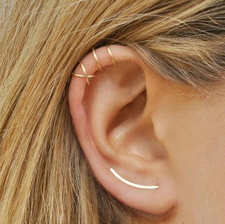 2 Pcs Hot Cute New Romantic Small U Shape Gold/silver/black Lovely Cross Shape Hoop Earrings For Women Party Girlfriend Gift Perfect In Workmanship
